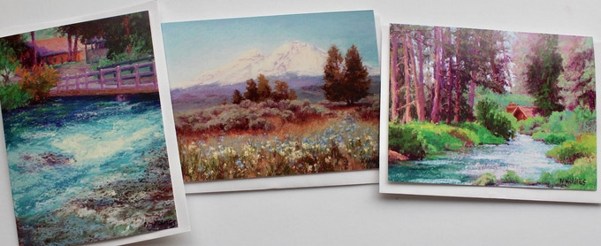 """3 Greeting cards 4.5x6 images of paintings in book """"Land Escapes"""""""