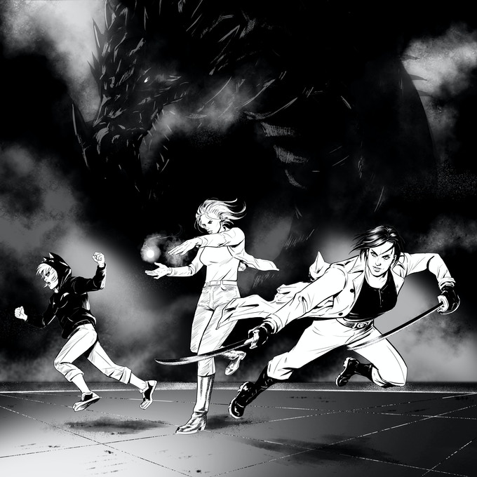 Maeve, Elthia, and Adobe, the three leading ladies of The Mythoverse.  Art by Leandro Panganiban.