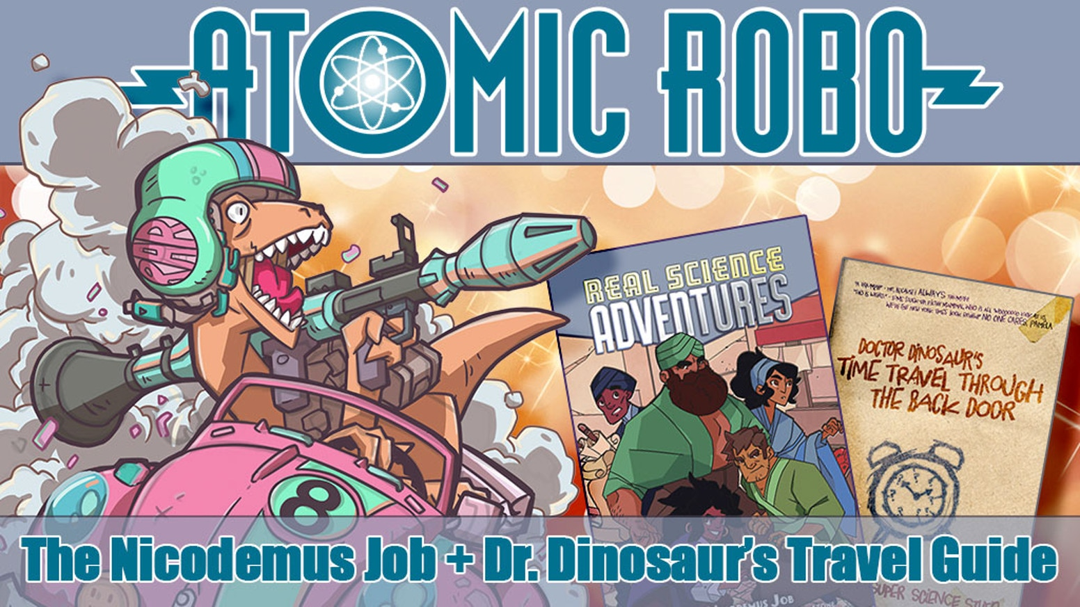 A hardcover of The Nicodemus Job, the greatest heist of the 11th century! And Dr. Dinosaur's stupid Guide to Time Travel Tourism.