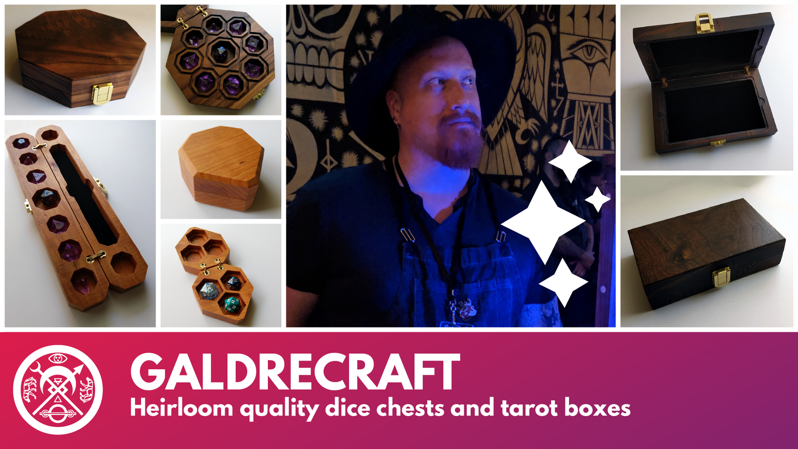The next generation of dice, trinket, and tarot boxes from Galdrecraft crafted from beautiful, sustainable, and ethical hardwoods.