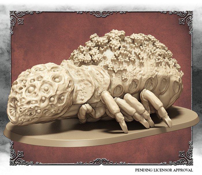 Ivory 3D rendering of Rom, the Vacuous Spider, front view.  Sculpted by Thierry Mason.