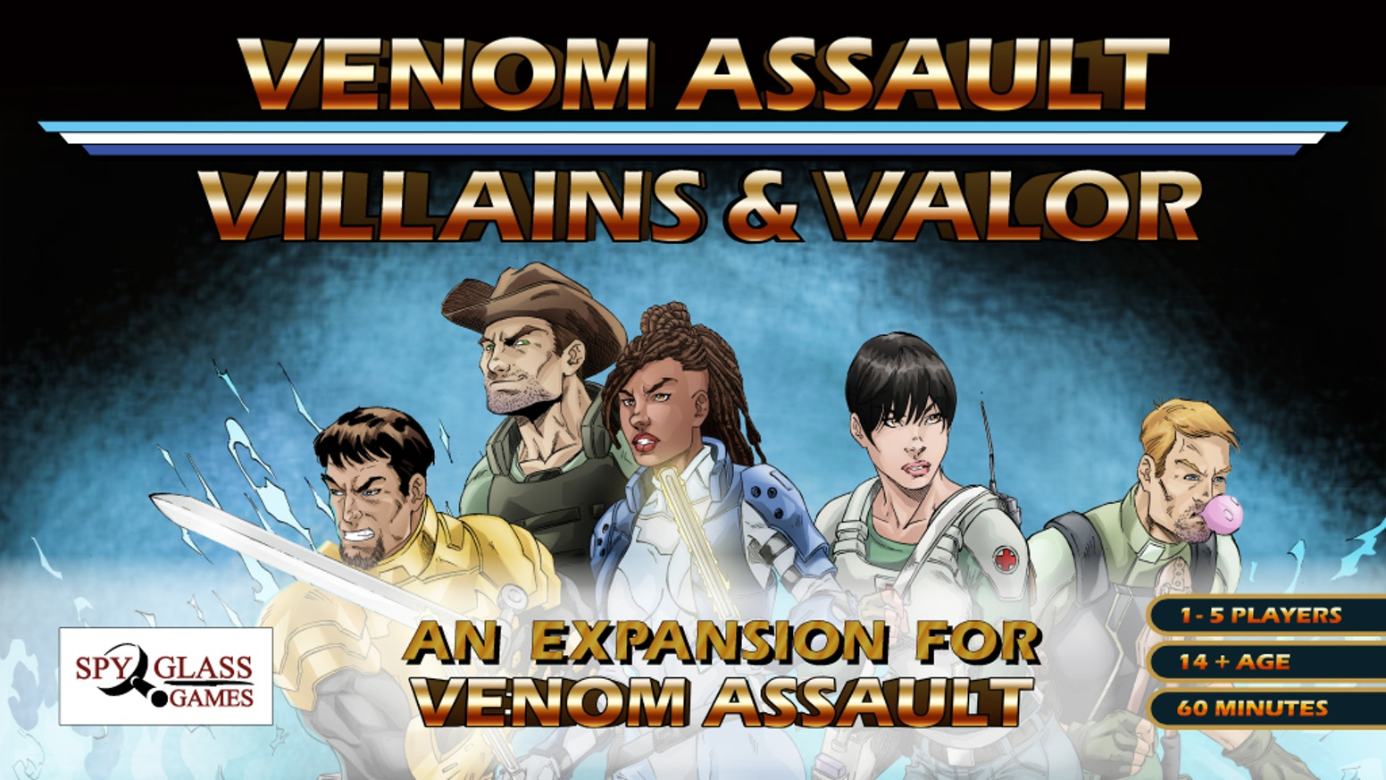 Venom assault a Deck builder with dice-based combat; is being reprinted for new fans and an all-new expansion villains & valor for all