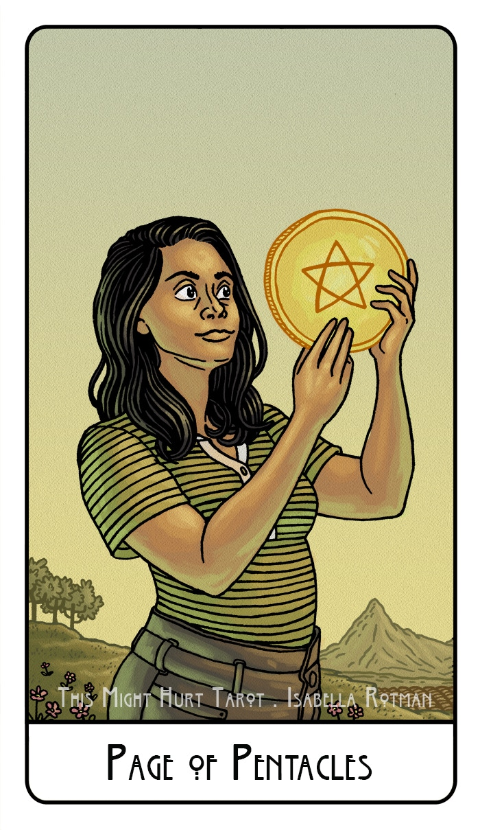 Page of Pentacles from This Might Hurt Tarot