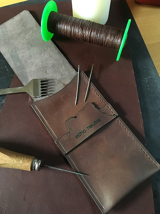Working on the Rifugio Watch Wallet (Brown Leather version)