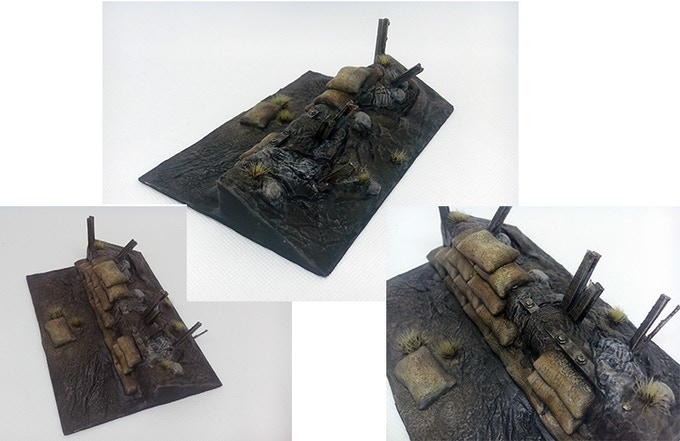 Trench section for Space 40K, Painted.