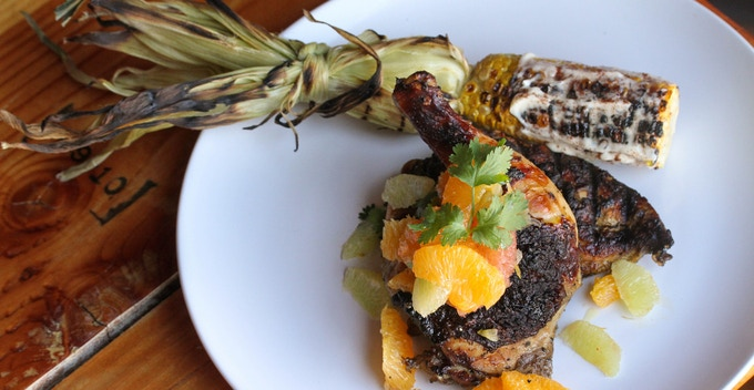 Brick Grilled Chicken with Grilled Mexican Corn on the Cob