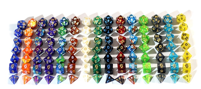 We will send you 15 random sets, all matching dice, no repeats!