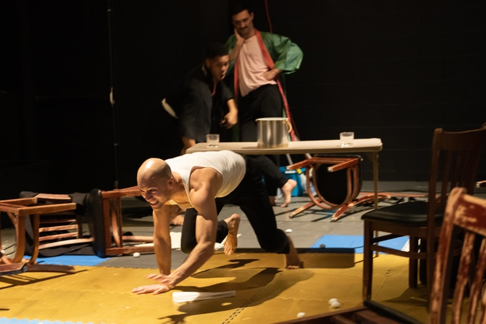 Performers Gabriel Hernandez & Roger Casey in BrandoCapote, in workshop @ Art House, JC. Photo: Miguel Aviles