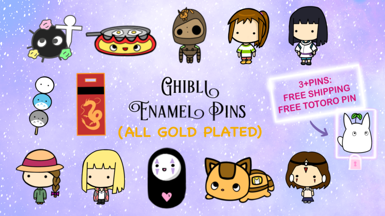 Ghibli Inspired Enamel Pin Collection (Gold Plated) by