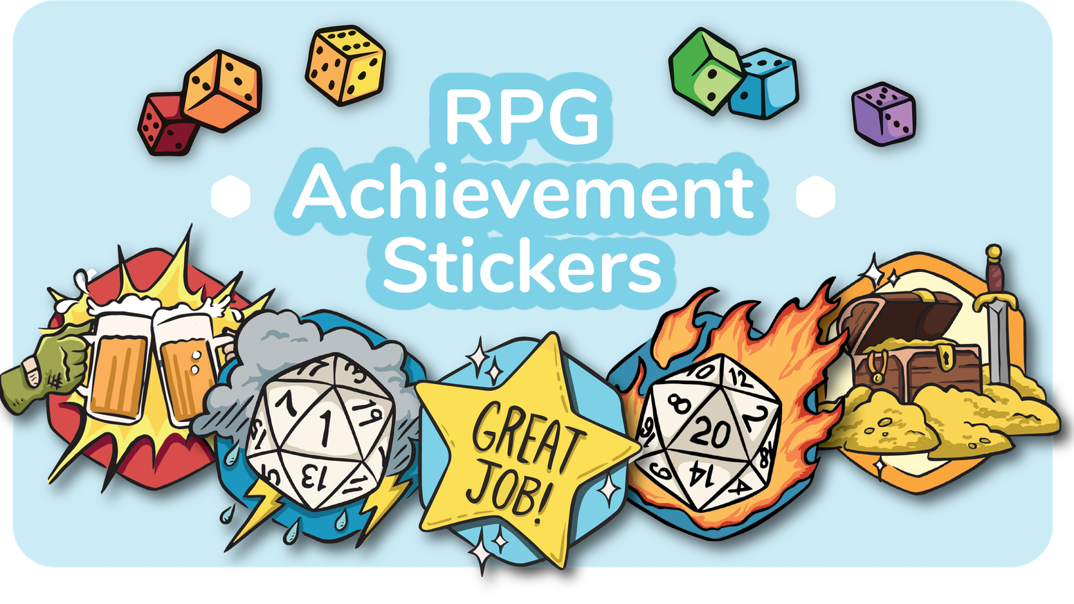 Achievement stickers for your favorite tabletop roleplaying game!