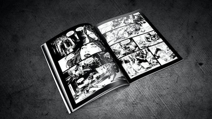 Issue #1 inside (mock-up): striking black and white artwork. / Parte 1. Interior (prototipo): un impactante trabajo de ilustración en blanco y negro.