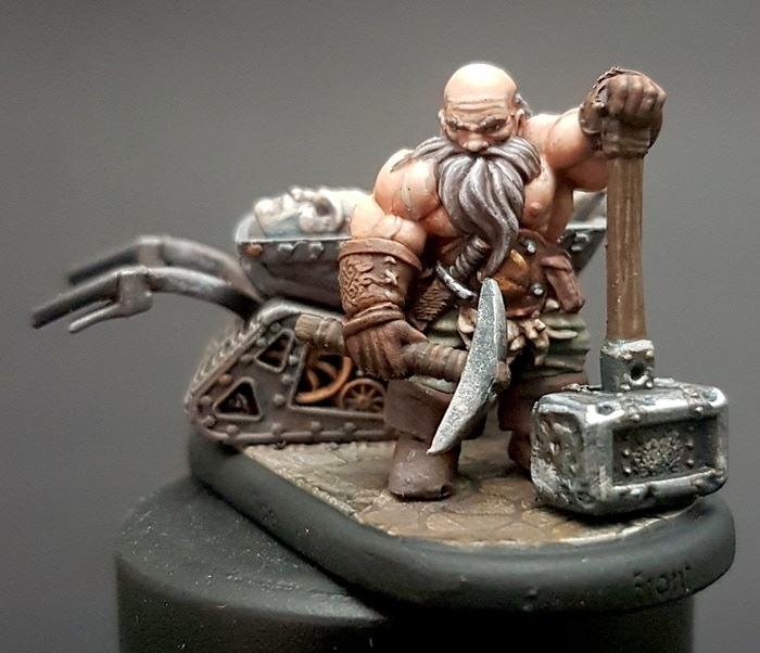 Soul Spire miner dwarf sculpted by Chris Gabrish and painted by Stephen Shepherd