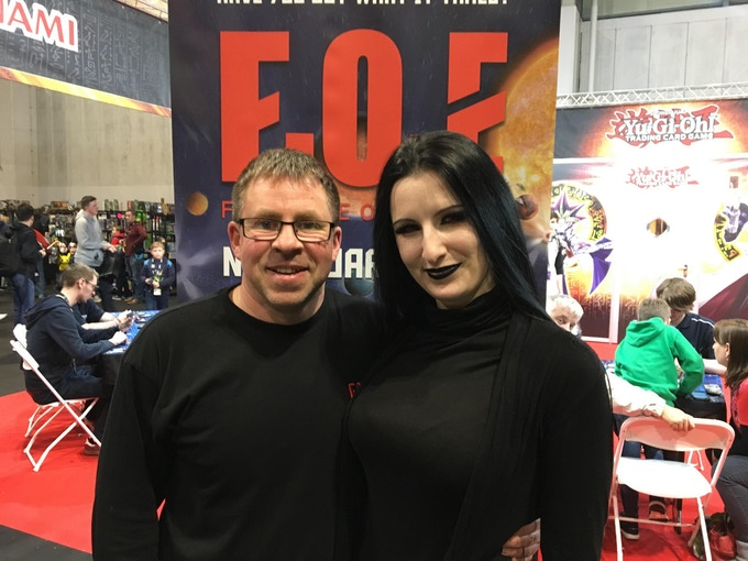 Claire Rainbow and Paul Willis promoting FOE at Insomnia 2018.