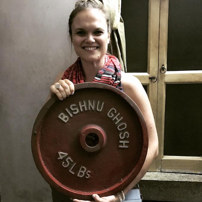 Ida with the original weights of Bishnu Ghosh, courtesy of Romit Banerjee