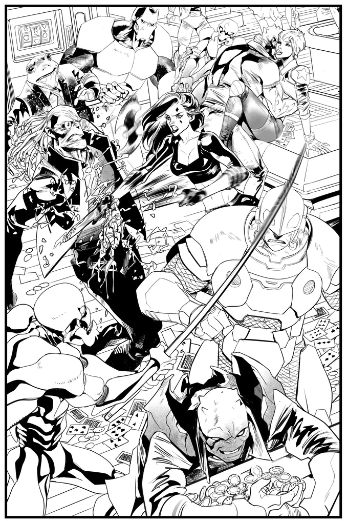 GALACTIC BOUNTY HUNTERS #2 - Interior Splash Page - Art by Celal Koç