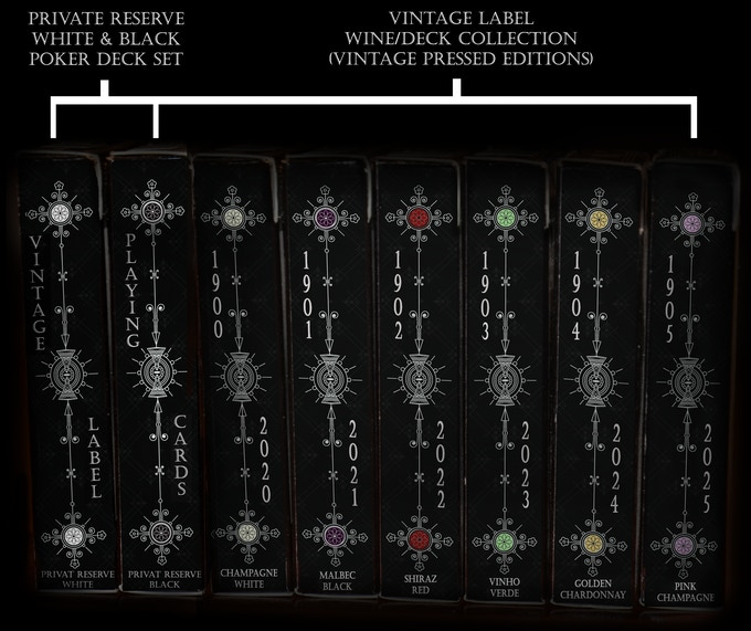 Visualisation of the complete Vintage Label Wine/Deck Collection (Side View) displaying the unique wine deck indexing system.  The actual dates printed on the tuck boxes will vary from the ones shown in this image, depending on the actual launch dates for each deck in the wine/deck collection.