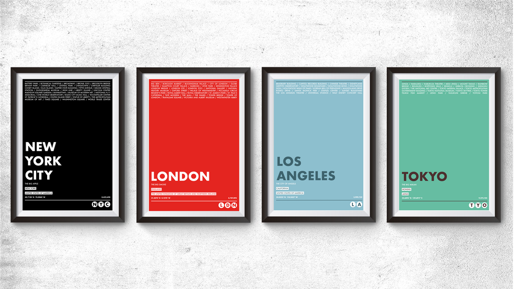 World City Typography Prints