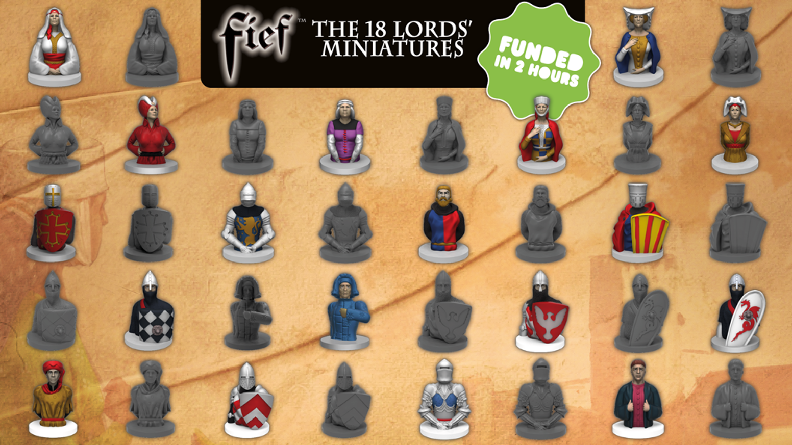 The goal of this Project is to produce a nice Box set containing the 18 Miniatures, painted or not, of the 18 Lords of the game FIEF.