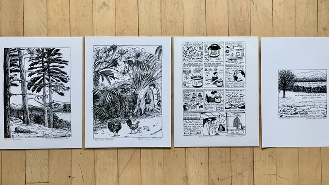 Available prints (L to R): CT Riverview, Key West Imagined, Chicken Lentil Soup, First Snow (from a panel in Making Time)