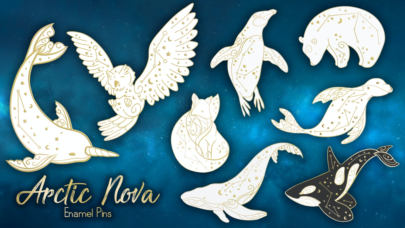 A pin collection inspired by nebulae, constellations and the snowy animals of the arctic!