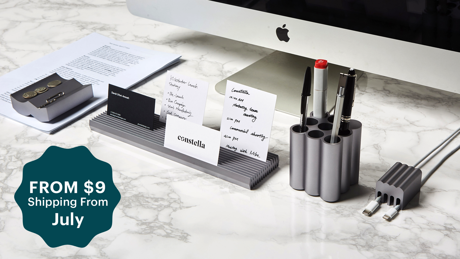 Aluminum desk organizers with clean, sleek, and modern design. Bring elegance to your workspace.