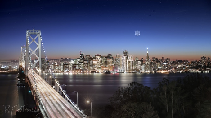 Bay Bridge Moonset