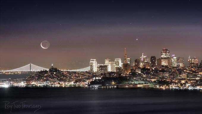 Bay Lights Crescent Moonrise