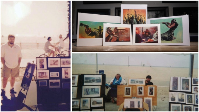 Gabe Selling Art on the Boardwalk of Venice Beach (left and lower right) Examples of Kickstarter Exclusive Paper Prints / Tear Sheets - (upper right)