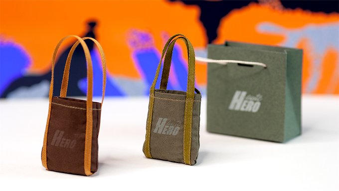 Haute Hero classic tote bag in 'Cigar' and 'Army Green' colorways. Includes Ivy Green shopping bag.