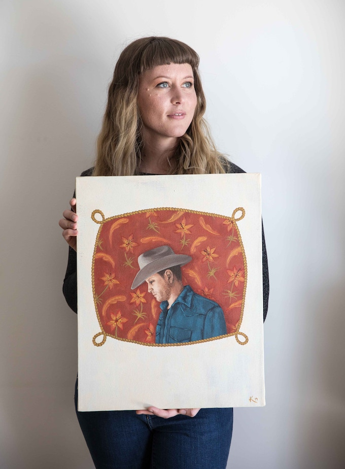 "Artist Kendell Vreeling with the painting that became the cover for ""Midwestern"""