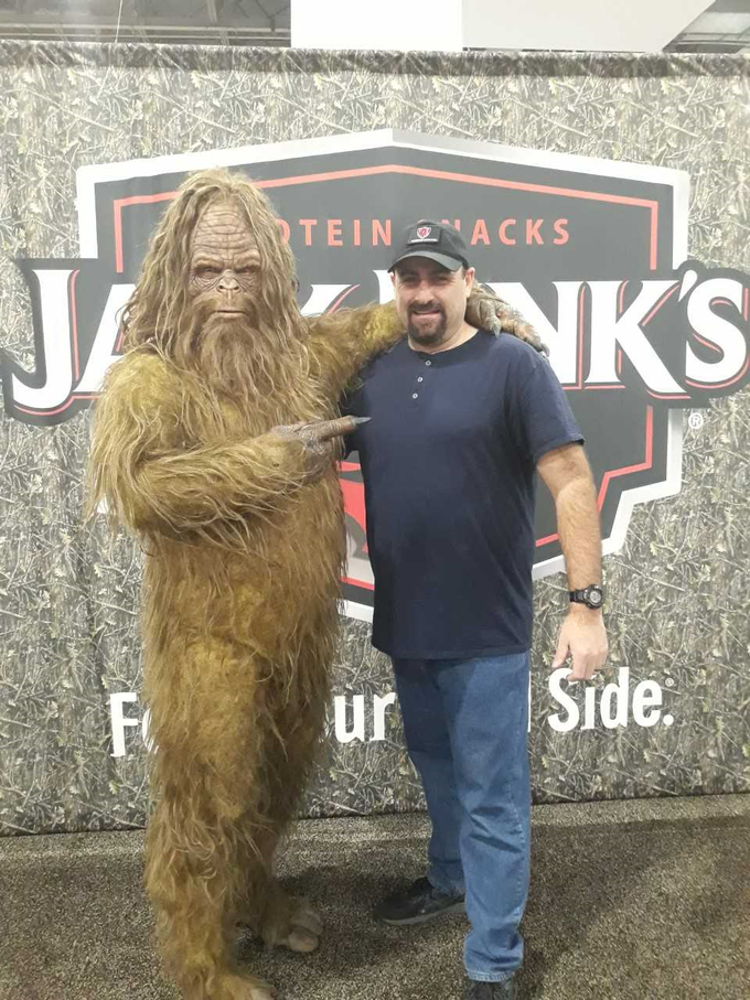 """A giant hairy guy (Sam) and """"Bigfoot""""! LOL"""