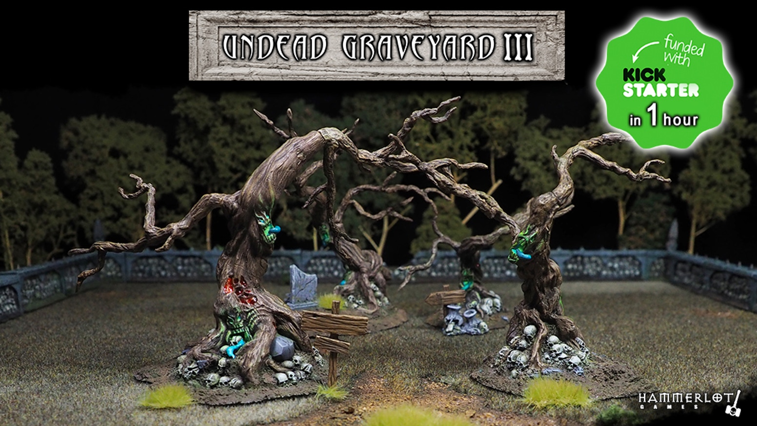Undead scenery, cemetery walls, dead and cursed trees, skulls. Miniatures 28/30mm. Board games, tabletop, RPG, fantasy, wargames