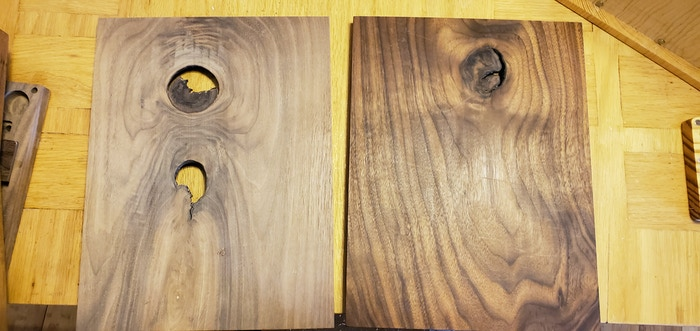 Black Walnut wood shown. Some of the things you run into when maching solid wood. Knotholes. I personally like these, but not everyone does, if you don't we can re-machine using non-knotty wood. Mostly, in rare cases only this type of wood is available and in those situations we can always fill.
