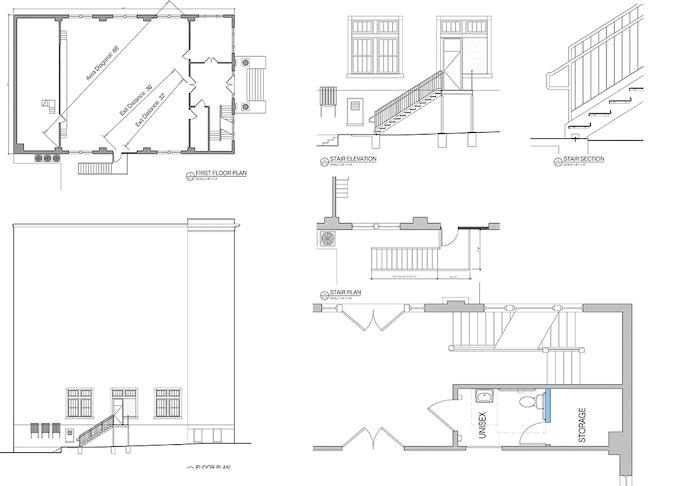 Fire escape and bathroom building plans