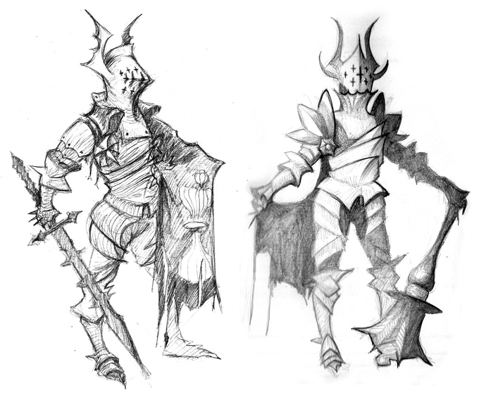 Sketch of one of the the Mazeknights, enemies that the players could face in the Maze. Art by Duamn Figueroa Rassol