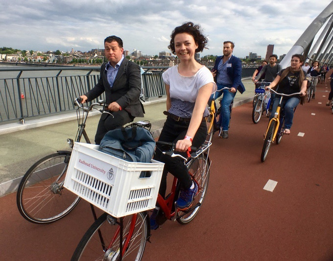 Laura Laker cycling in The Netherlands at Velo-city 2017 (Brian Deegan is pulling the face beside her – behind is Brett Petzer and Gail Jennings of South Africa)