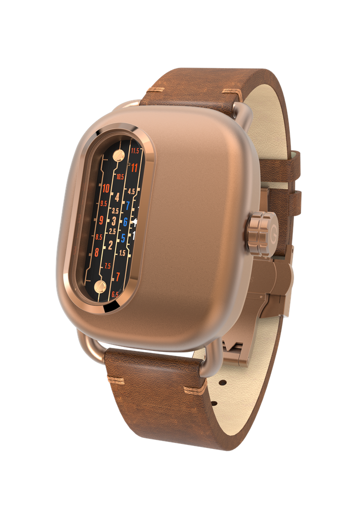 316L Stainless Steel Case with Bronze PVD with Distressed Brown Leather Strap