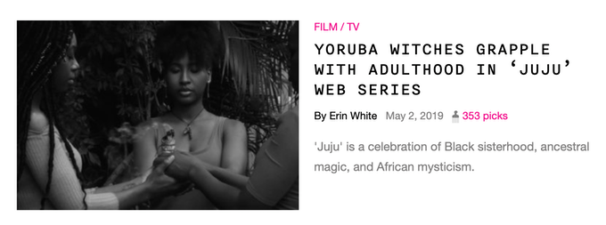 Erin White of Afropunk covers Juju: The Web Series