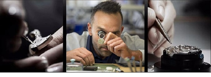 Parts being hand crafted, inspected and placed into the movement by the highest skilled craftsmen.