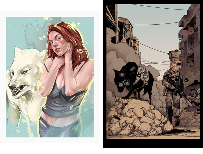 Callie and amaroq A4 print (mock-up) by artist Samuel Hernández (left) and Christopher and amaroq A4 print (mock-up) by illustrator David Monge, coloured by Tomás Aira (right).