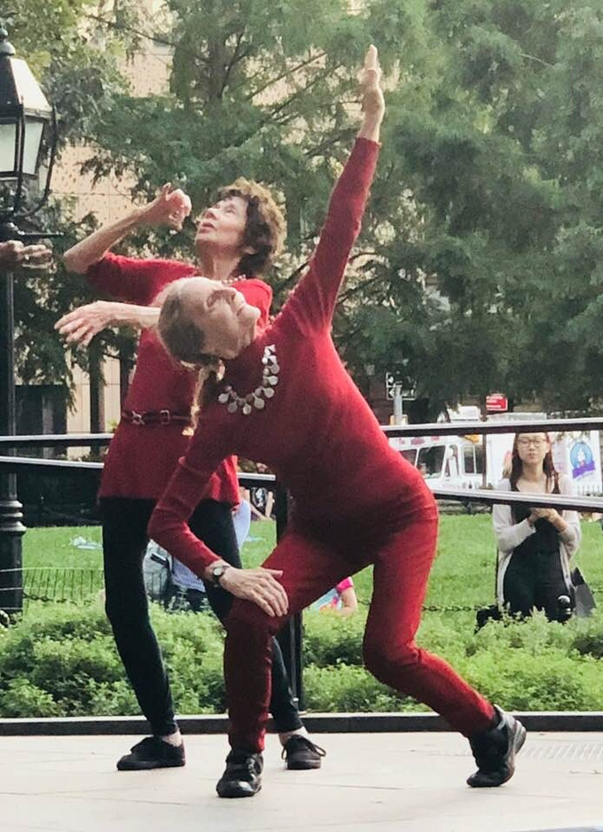 Marnie Thomas Wood and Alice Teirstein onstage at Washington Square Park, Sept 2018 Photo by Ellis Wood