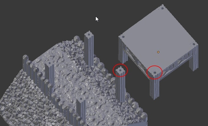 Holes that allow floors to fit with the towers posts.
