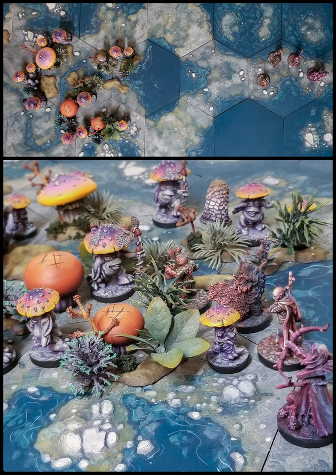 Fungal Forest pieces on Hextiles featured w/ Reaper Miniatures!