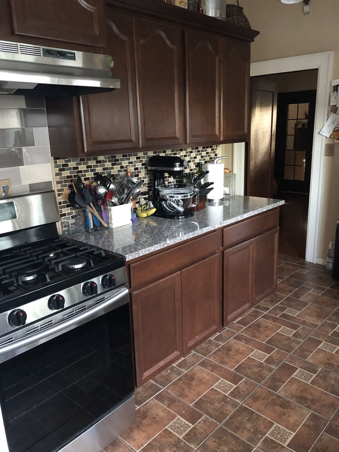 Existing stove and counter space