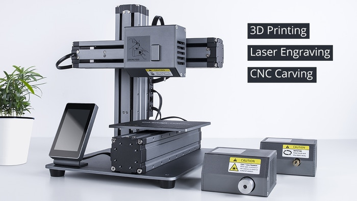 Turn your desktop into a workshop. You can easily do 3D printing, laser engraving and CNC carving.