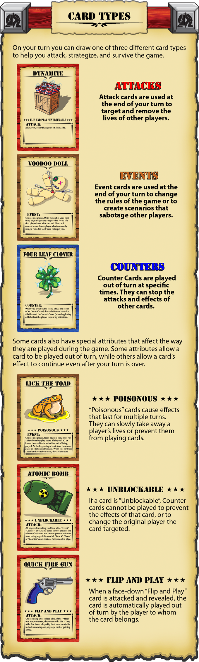 The card types in Science Ninja Cowboy