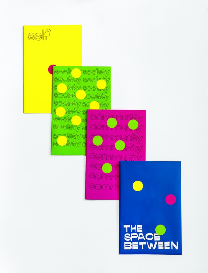 The Space Between, set of 3 zines, written by Gopika Bashi and designed by Mira Malhotra
