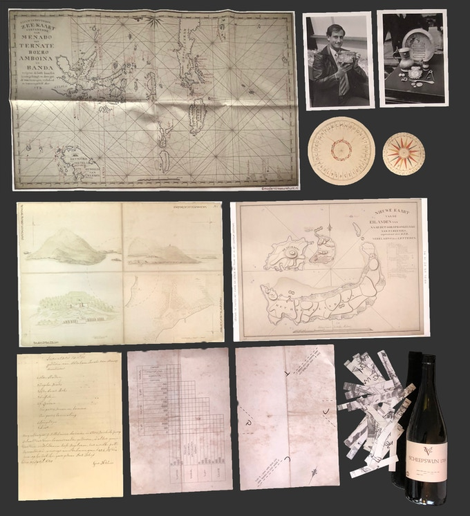1 cotton nautical chart, 2 pictures, 2 compass roses, 1 drawing of 4 islands (a3 size), 1 nautical chart of 4 islands (a3 size), 1 page of a ships log, 2 pages with puzzles and 1 bottle with puzzles and 1 thumbtack.