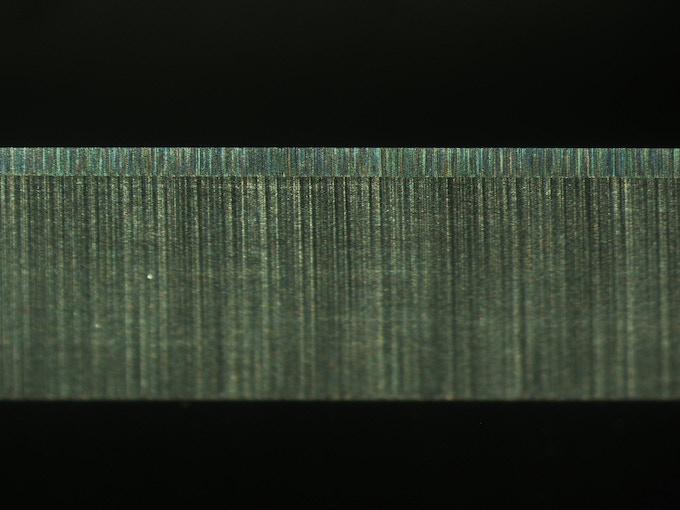 Sandrin Tungsten Carbide Knife Edge Under a Microscope