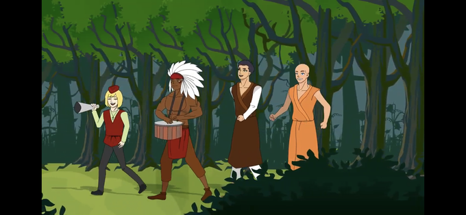 Krushia and his three best friends are walking in Krushia's favorite forest on Krushia's seventeenth birthday. They are singing, dancing and playing instruments,  in Nusi.
